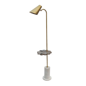 Matte Brass and Blue Agare One-Light Torchiere Floor Lamp