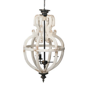 Distressed White and Black 20-Inch Four-Light Chandelier