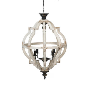 Distressed White and Black 24-Inch Four-Light Chandelier