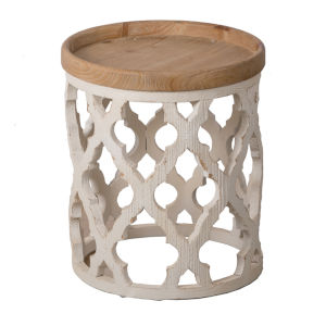 Distressed White 20-Inch End Table