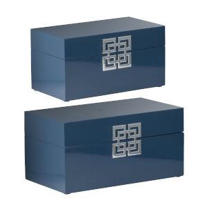 Blue 14-Inch Decorative Box ,Set of 2