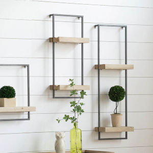 Black 12-Inch Wall Shelf with Two Shelves