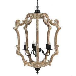 Whitewash and Black Six-Light Chandelier