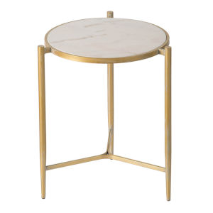 Gold Gold and White Marble End Table