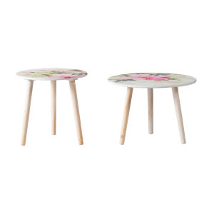 Natural Round Side Table with Pink Floral Table Top, Set of 2