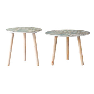 Natural Round Side Table with Cherry Blossom Table Top, Set of 2