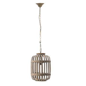 Dark Brown One-Light 220V Braided Wood Detail Cage Lantern Chandelier