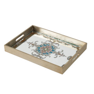 Gold and Blue Decorative Tray with Scroll Pattern