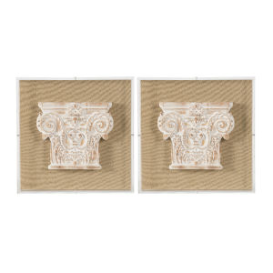 Multicolor 3-Dimensional Corinthian Pedestal Wall Art, Set of 2