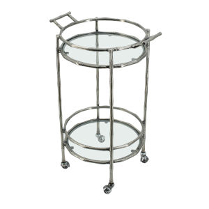Silver Two-Tier Bar Cart