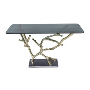 Polished Gold and Black Console Table