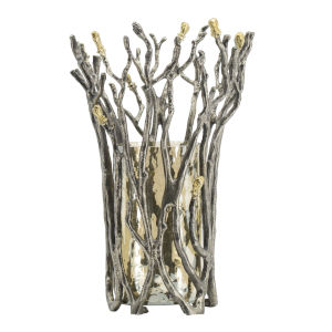 Gold Twig Vase with Brown Luster Glass