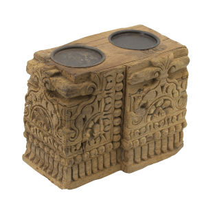 Gray Antique Carved 2 Pillar Candle Holder