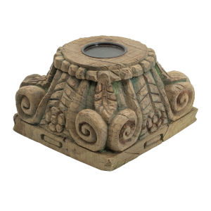 Gray Antique Carved Pillar Candle Stand