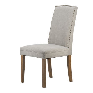 Light Gray Dining Side Chair with Nail Trim Back