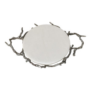Silver Round Decorative Tray with Marble