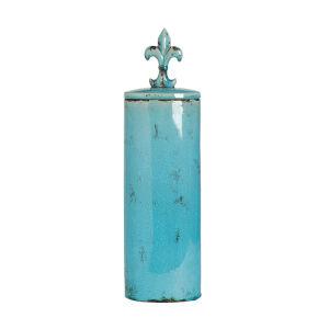 Cora Distressed Turquoise Decorative Oval Jar