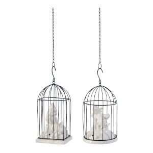 Bronze And White Bird Cage, Set of 2