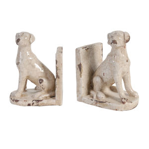 Porter Weathered White Dog Bookend, Set of 2