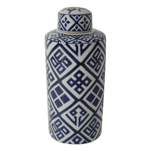 Valora Blue and White Cylindrical Jar, Small