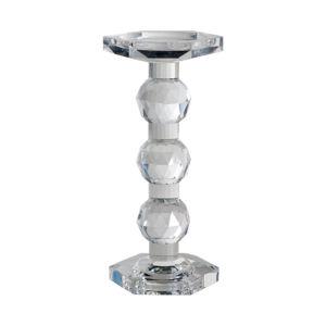 Sylvie Clear Crystal Pillar Candle Holder, Tall