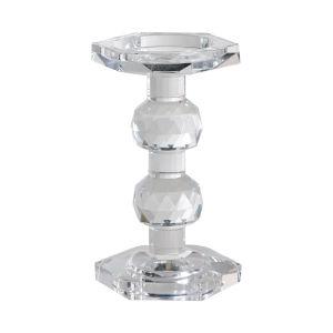 Sylvie Clear Crystal Pillar Candle Holder, Medium
