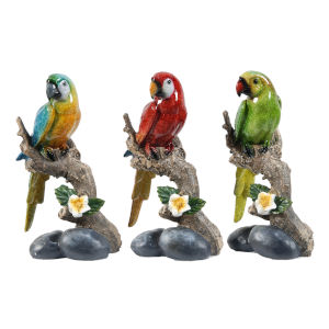 Brown And Multicolor Macaw On Brand Figurine, Set of 3