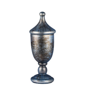 Gray and Gold 15-Inch Decorative Lidded Trophy