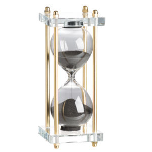 Gold, Black Sand and Crystal Hourglass in Stand