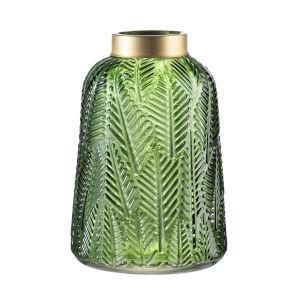 Green and Gold 9.5-Inch Fern Leaf Vase