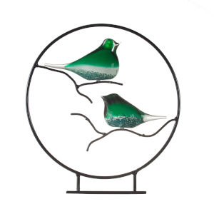 Green And Black Glass Birds Decorative Object