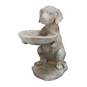 Cream Dog Birdfeeder Statue