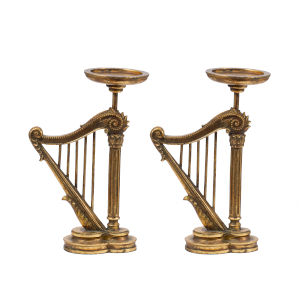 Antique Gold Harp Candle Holder, Set of 2