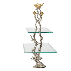 Event Silver and Gold 2-Tier Cake Plate