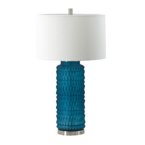 Teal and Chrome One-Light Table Lamp