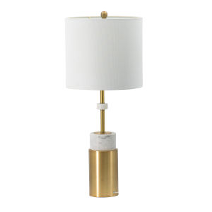 Brass and White One-Light Table Lamp