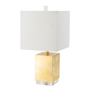 Gold and Clear One-Light Rectangular Table Lamp