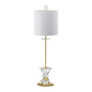 Gold and Clear One-Light Triangular Crystal Buffet Lamp