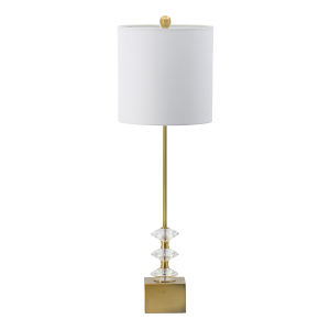 Gold and Clear One-Light Crystal Accent Buffet Lamp