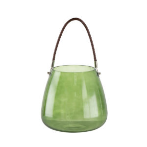 Green Glass Vase with Braided Handle