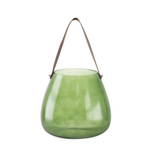 Green Glass Vase with Handle