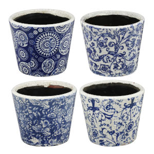 Royal Blue and White Planter, Set of 4