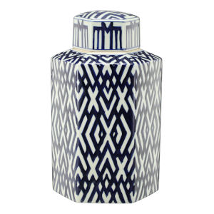 Carlyle Blue And White Lidded Hexagon Jar