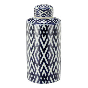 Carlyle Blue and White Lidded Jar, Small