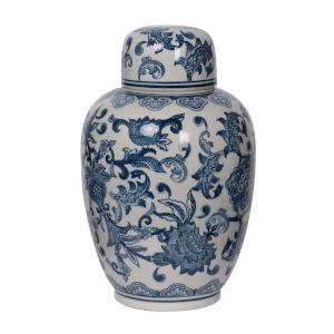 Amerie Blue And White Lidded Decorative Jar