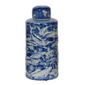 Oan Blue And White Lidded Decorative Jar
