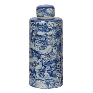 Inez Blue And White Lidded Decorative Jar