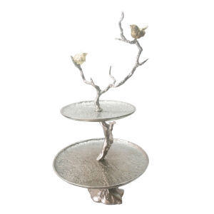 Silver Branch Two-Tiered Tray