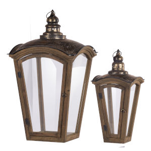 Natural And Gold Coach House Lantern, Set of 2