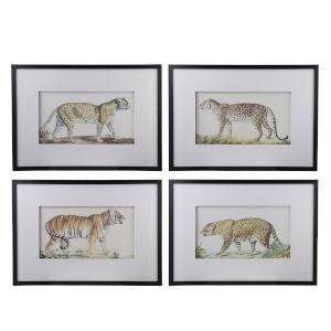 Black Watercolor Lion Wall Art, Set of 4